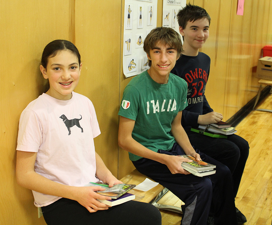 Wolf students after selecting their books from the Book Fair
